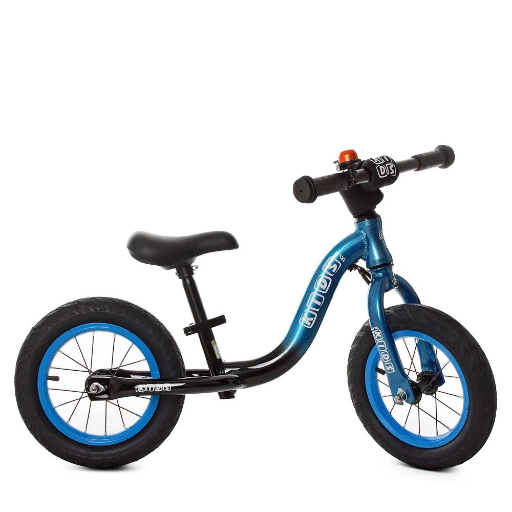 Детский беговел 12 дюймов Profi Kids W1203A-3, сине-черный с надувными колесами и звоночком