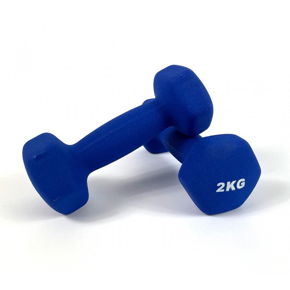 Гантели для фитнеса NEO-SPORT 2 кг. x 2 шт., металл с виниловым покрытием (синий)