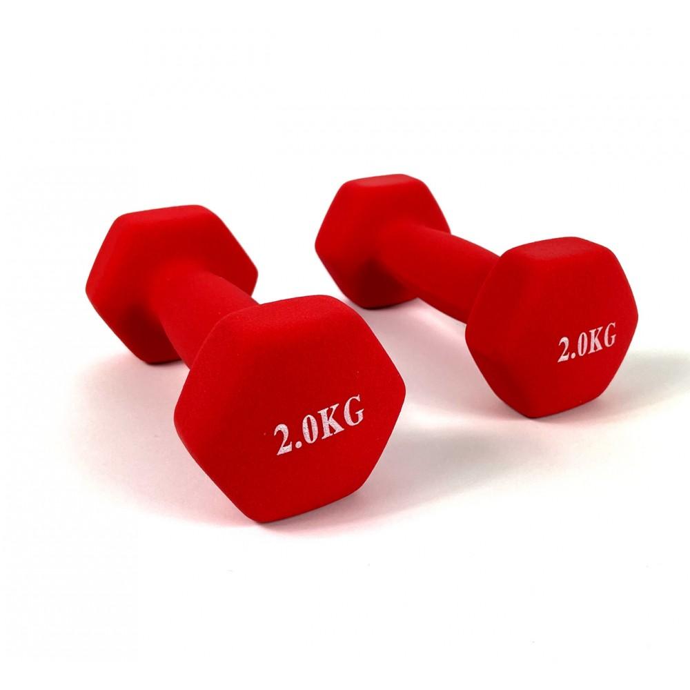 Гантели для фитнеса NEO-SPORT 2 кг. x 2 шт., металл с виниловым покрытием (красный)