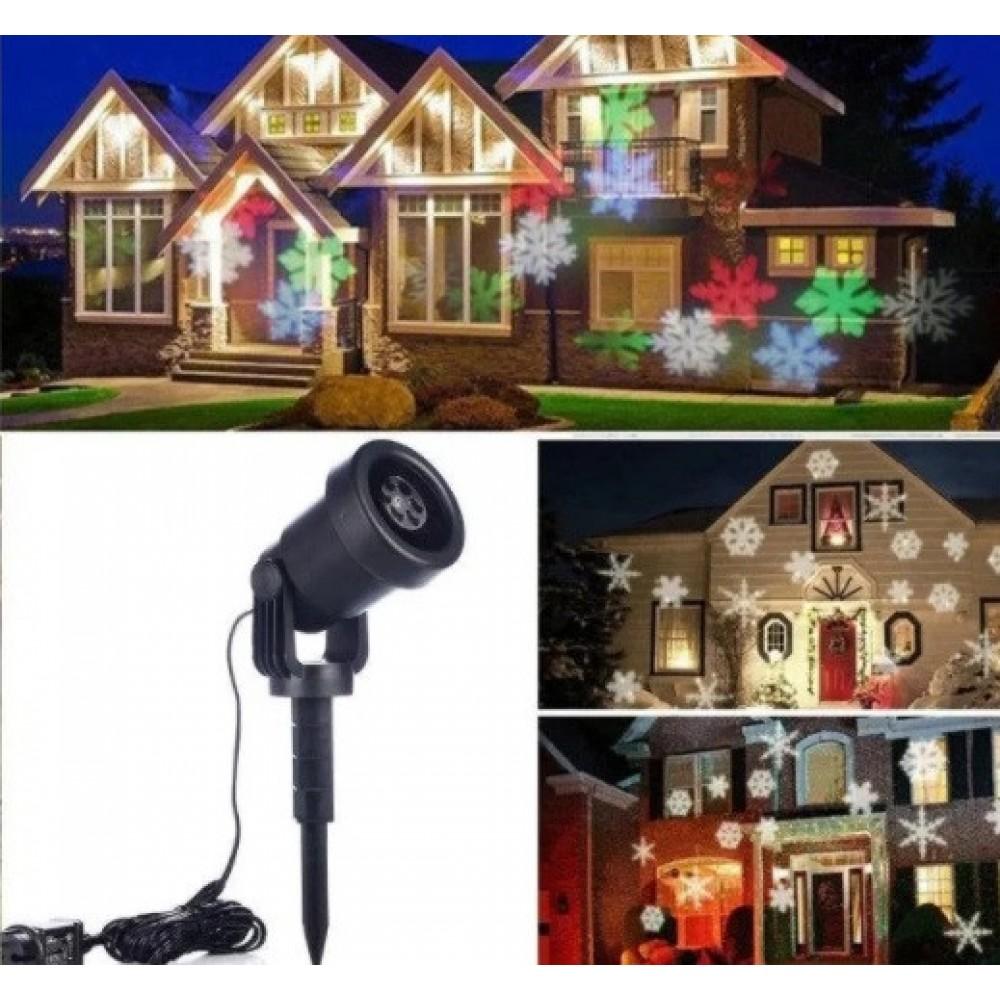 Лазерный проектор Star Shower WL-602 разноцветные снежинки 6739