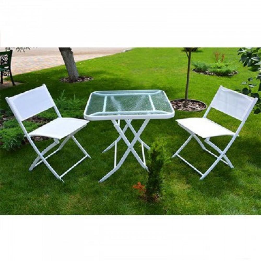 Комплект стол садовый + 2 стула Stenson MH-2747 white