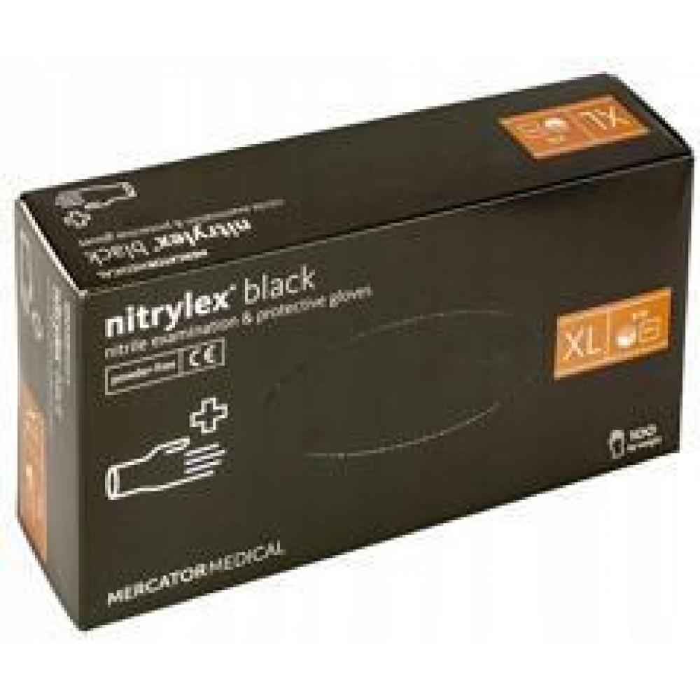 Перчатки нитриловые Mercator Medical nitrylex 100 шт, размер XL чёрные