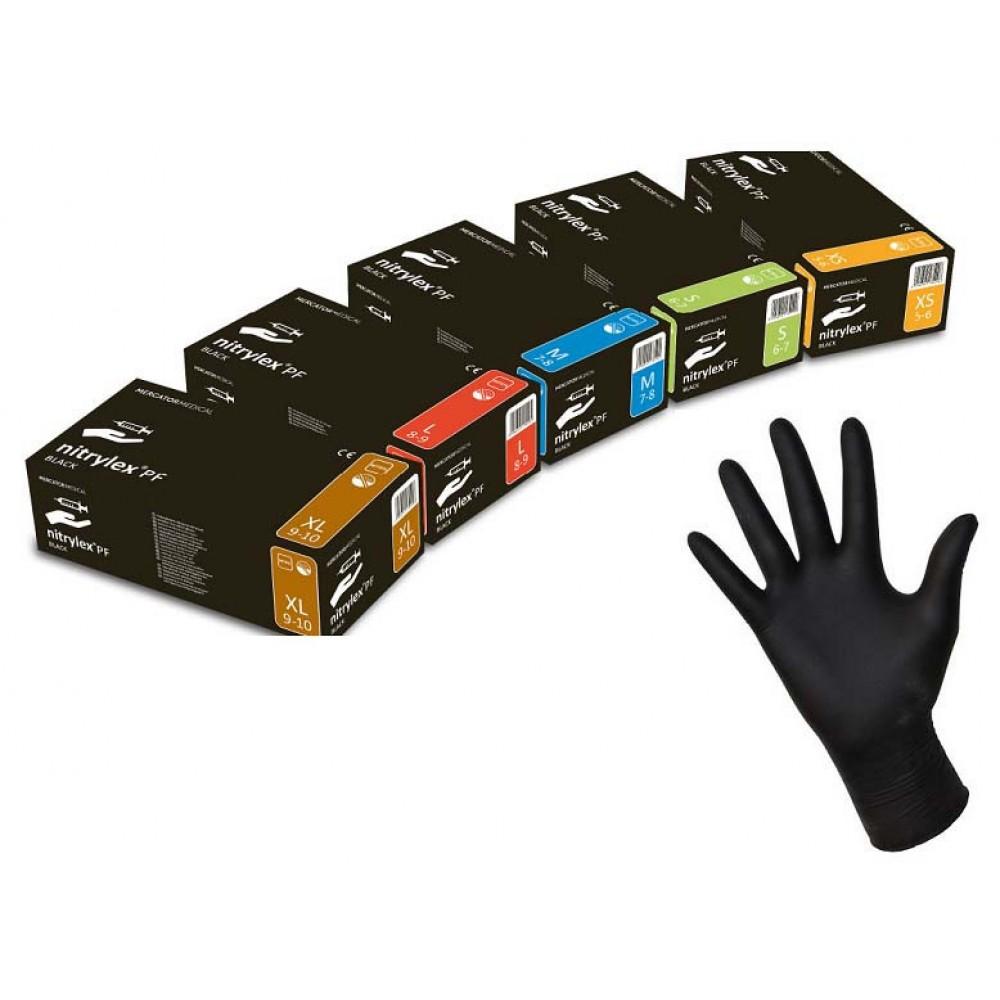 Перчатки нитриловые Mercator Medical nitrylex 100 шт, размер M чёрные