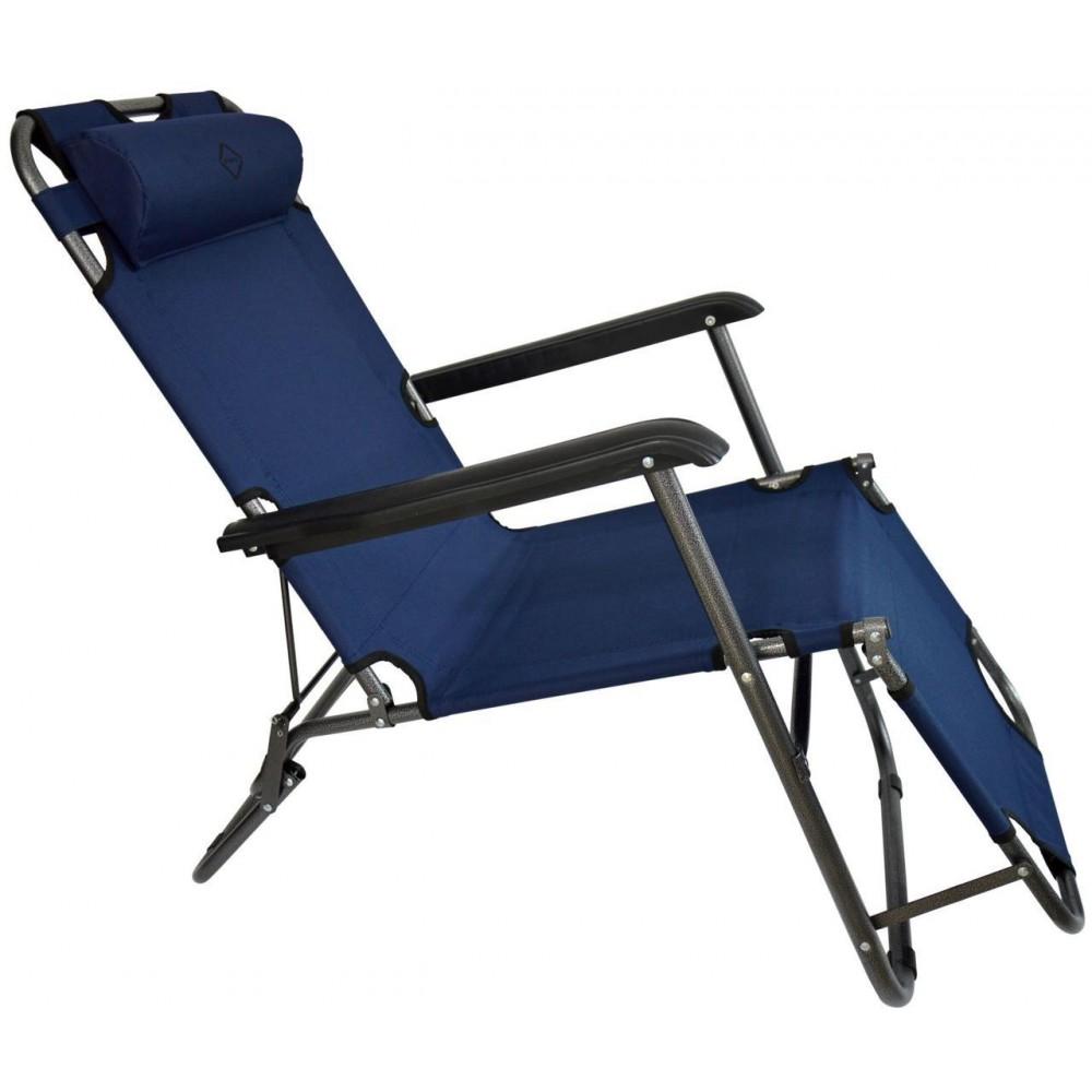 Шезлонг лежак Bonro 160 см темно-синий