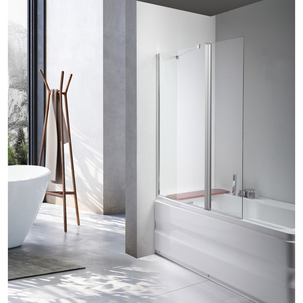 Стеклянная шторка для ванны Avko Glass 542-1 40+60x140 Clear