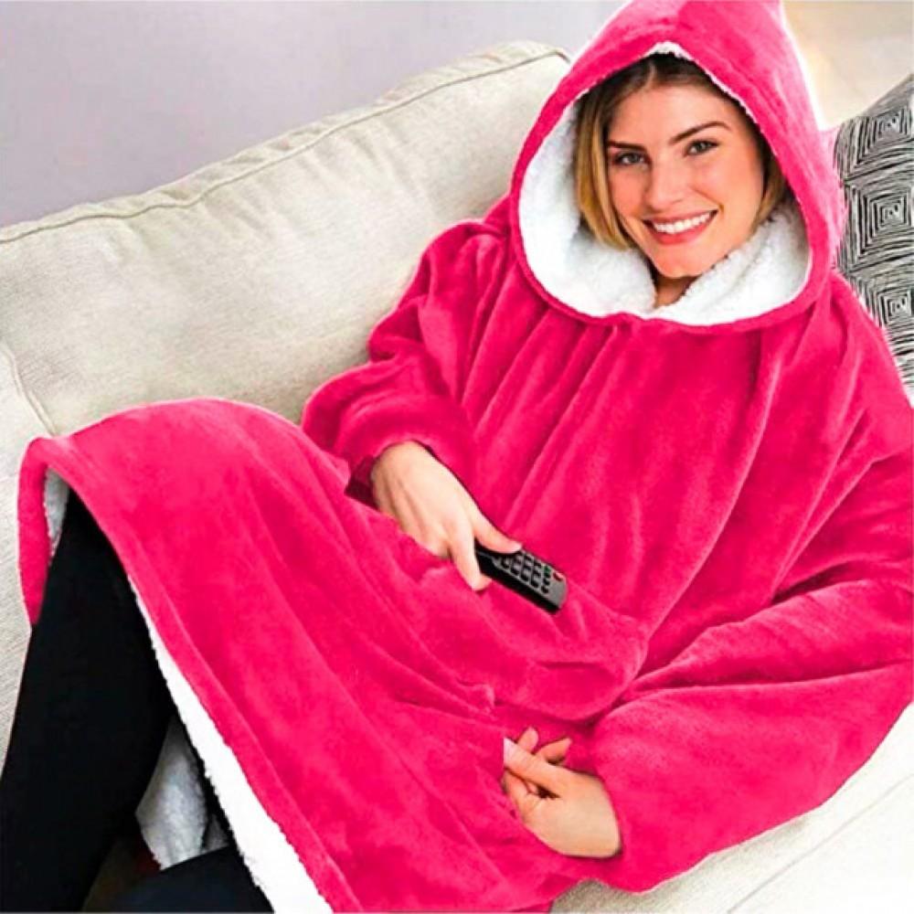 Толстовка - плед, халат с капюшоном Huggle Hoodie, худи, розовая