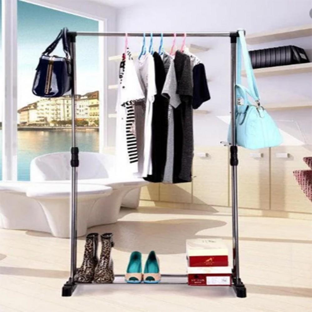 Телескопическая стойка-вешалка для одежды Double Pole Clothes Horse R29745