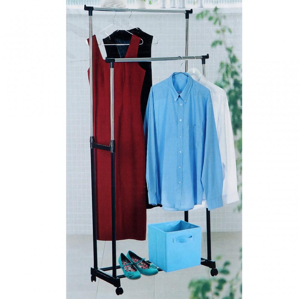 Телескопическая стойка-вешалка для одежды и обуви Double Pole Clothes Horse 340 LR