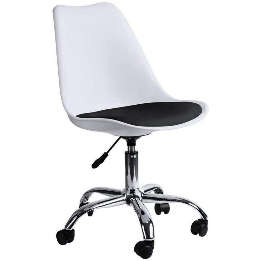 Кресло Bonro B-487 на колесах белое с черным сиденьем