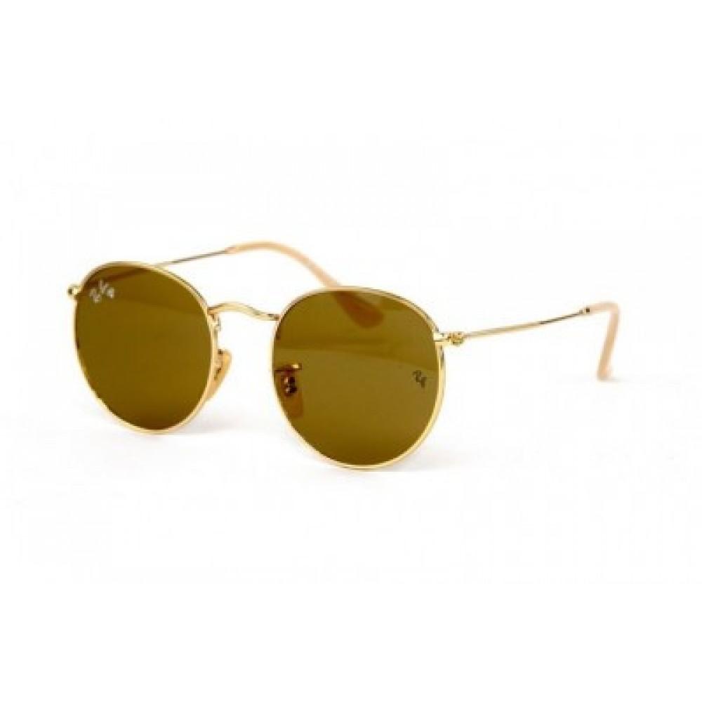 Солнцезащитные очки Ray Ban Round Metal 3447-Brown-G, унисекс