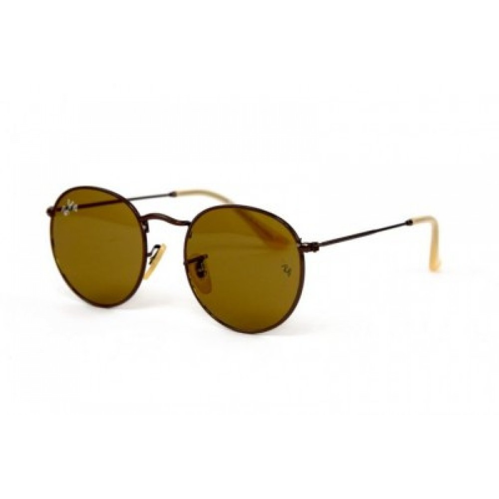 Солнцезащитные очки Ray Ban Round Metal 3447-Brown-BR, унисекс
