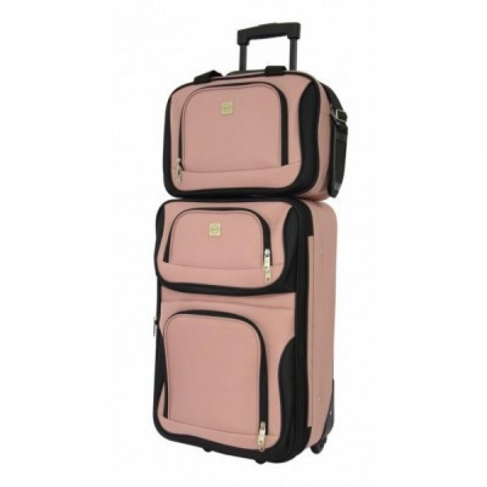 Комплект чемодан + сумка Bonro Best средний, розовый