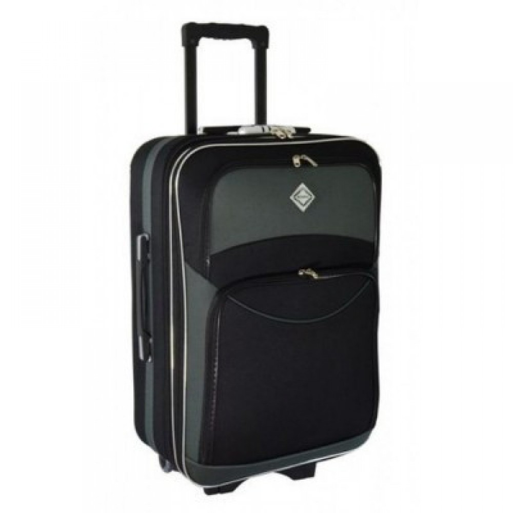 Текстильный чемодан Bonro Style небольшой, черно-серый