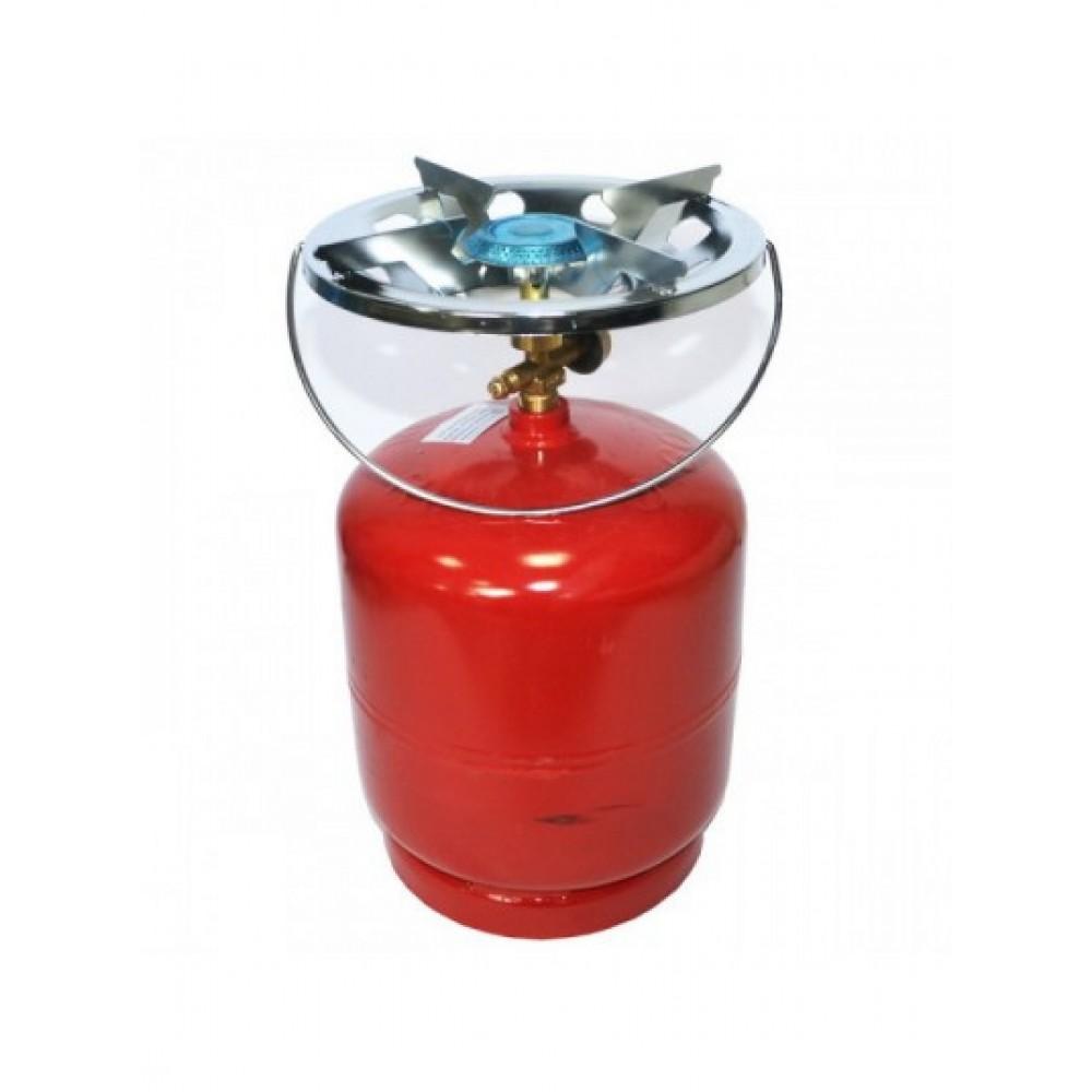 Баллон газовый бытовой 8 литров, бутан, с горелкой